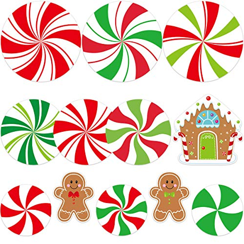 Peppermint Cutouts for Candy Party Decoration Kids Classroom Bulletin Board Decoration Set 12Pcs