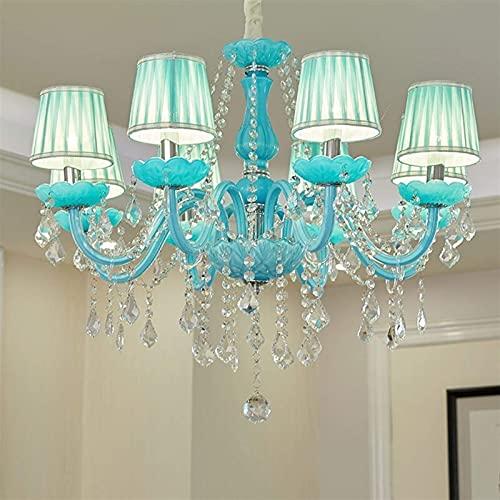 Lámpara de araña lila con pantalla de lámpara, lámpara de araña de cristal, para habitación de niñas, iluminación colgante (8 luces)