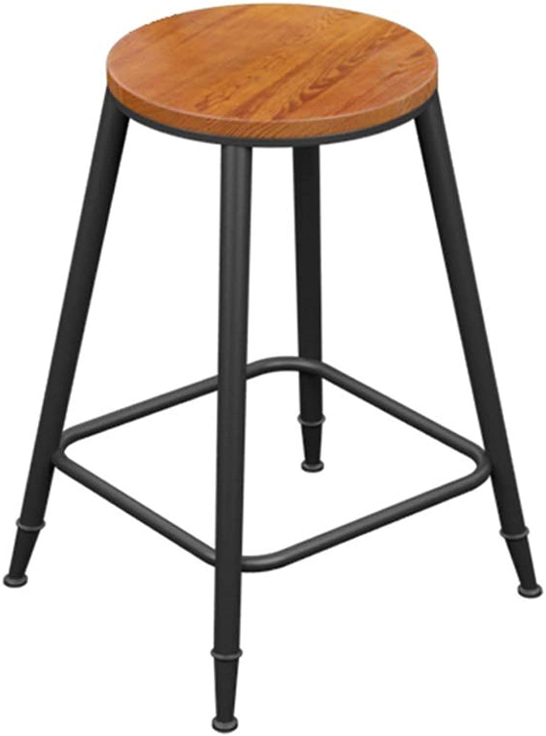 Round Barstool Iron Breakfast Dining Stool for Kitchen Bar Counter Home Commercial Chair High Stool with Wooden Seat LOFT Industrial Style (Size   Height 60cm)
