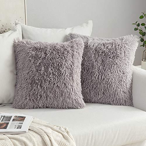 MIULEE 2er Set Soft Künstlich Pelz Throw Kissenbezüge Set Dekorative Dekokissen Kissen Fall für Sofa Schlafzimmer 16x16inch 40x40 cm Grau