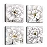 Flowers Wall Art Bathroom Wall Decor Abstract Botanical Picture Contemporary Wall Art Prints Bedroom Living Room Kitchen Office Home Decor Modern White Flower Canvas Artwork 12' x 12' x 4 Pieces