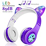 Kids Wireless Bluetooth Headphones-WOICE, LED Flashing Lights, Music Sharing Function, Long Lasting Battery and 85db Volume Limited WOICE Children Bluetooth Headphones for Boys Girls (Purple)