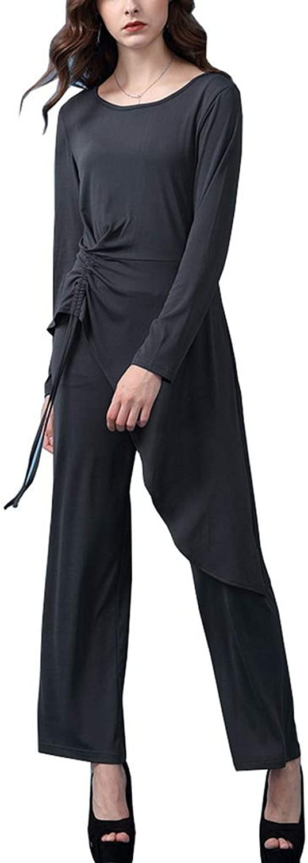 COMVIP 3Kinds Women's 2pcs Long Sleeve Blouse Solid Wide Leg Pant Sets