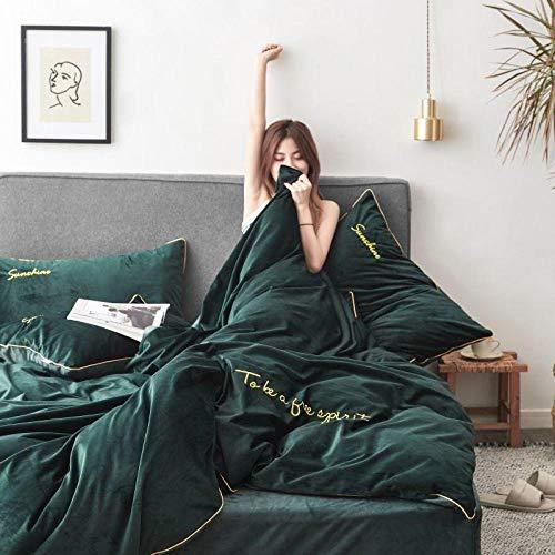 yaonuli effen vierdelig borduurwerk kristal fluweel vierdelig groen 2,0 m bed (dekbedovertrek 220 * 240 cm)