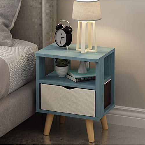 GDLMA Wooden Night Stand in Blue,Mini End Table with Fabric Drawer for Bedrooms