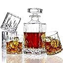 ELIDOMC 5PC Italian Crafted Crystal Whiskey Decanter & Whiskey Glasses Set