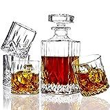 ELIDOMC 5PC Italian Crafted Crystal Whiskey Decanter & Whiskey Glasses Set, Crystal Decanter Set...