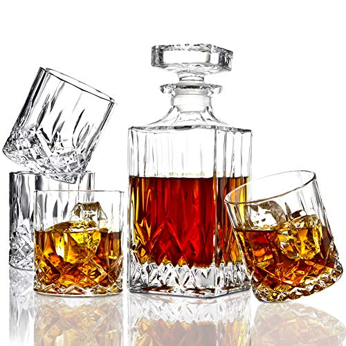 ELIDOMC 5PC Italian Crafted Crystal Whiskey Decanter & Whiskey Glasses Set, Crystal Decanter Set...