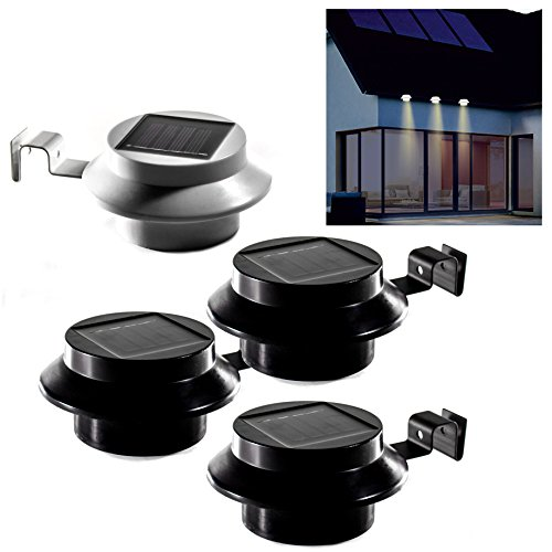 (Weiß) 3er Set LED- Solar- Dachrinnenleuchten/Dachrinnenlicht in Schwarz oder Weiß. Zaunleuchten Wegeleuchten 3er-Set mit je 3 Superhellen LED´s mit 1200 mAh Akku (Weiß) …