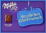 Milka Herzlichen Glückwunsch Milchcrème - Geschenkverpackung mit Pralinen aus Alpenmilch Schokolade - 5 x 110g