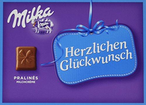 Milka Herzlichen Glückwunsch Milchcrème - Geschenkverpackung mit Pralinen aus Alpenmilch Schokolade - 1 x 110g