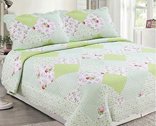 Sapphire Home 3 Piece Queen Size Bedspread Coverlet Quilt Bedding Set w/2 Pillow Shams, Diamond Pattern Floral Lime/Light Green, Queen XJ502