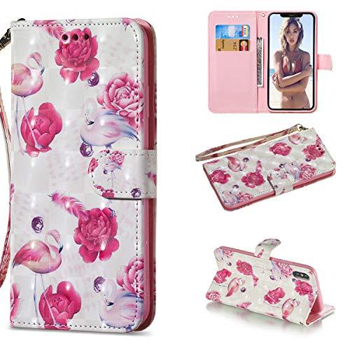 Ostop Brieftasche Hülle für iPhone Xr,Weiß Prämie PU Leder Handyhülle Hybride Weich Silikon,Schön Tier Bunt Motiv Kredit Kartenhalter Stand Schale für iPhone Xr,Rosa Flamingo