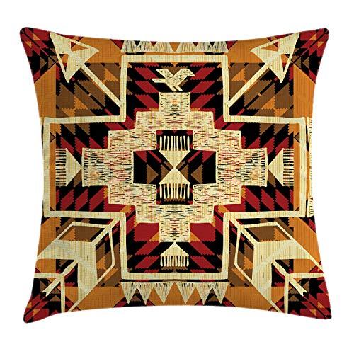 ABAKUHAUS Flecha Funda para Almohadar, Patròn Azteca Retro Inspiración Nativa Americana Diseño Gráfico Arte Boho, Decorativo, Estampado en Ambos Lados, 45 x 45 cm, Naranja