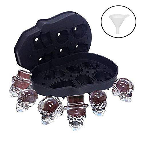 A Silikon Eiswürfelform Totenkopf, 3D Totenkopf Silikon Eiswürfel, mit Mini Trichter, Perfekt für Whiskey, Cocktail und Jedes Getränk (6-Fach)