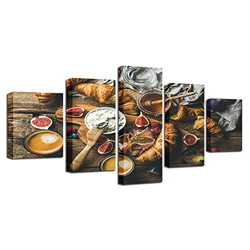 YB Stilleven kunst modulaire canvas afbeelding 5 stuks levensmiddelen honing en brood schilderij decoratie woonkamer muur moderne printen, geen lijst, 40x60 40x80 40x100 cm