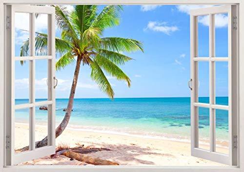 Paisaje Playa Tropical Palmera Mar Etiqueta de Pared Vinil Pegatina Autocolante Sticker...