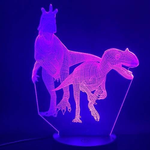 Nur 1 Stück Dinosaurierwelt Welt The Dinosaur Raptors 3D-Lampe Batteriebetrieben Dekorativer visueller Effekt LED-Nachtlichtlampe Cooles Geschenk für das Büro