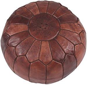 Moroccan World | Pouf en cuir fait main Repose-pieds | Marron avec Point Marron | Housse uniquement, livré vide