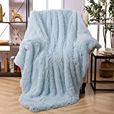 Faux Fur Throw Blanket, Super Soft Lightweight Shaggy Fuzzy Blanket Warm Cozy Plush Fluffy Decorative Blanket for Couch,Bed, Chair(60'x80', Light Blue)