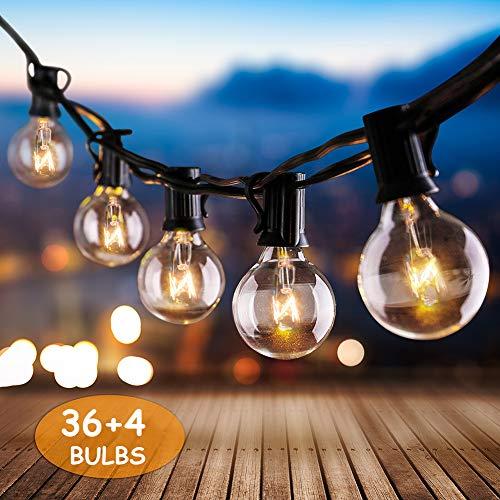 Lichterkette Außen, IREGRO Lichterkette Glühbirnen Außen, Garten Lichterkette, Wasserdichte String Licht für Innen Draussen, Party, Festival, 12.8M Warmweiß 40er Birnen