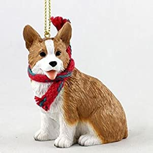 Corgi with Scarf Christmas Ornament (Large 3 inch version) Dog