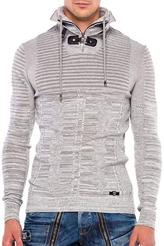 Cipo & Baxx Jersey de Punto para Hombre, Sudadera, Jersey, con Doble Cuello Alto