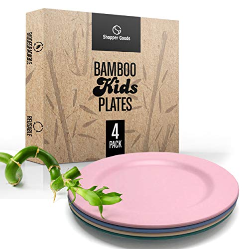 Shopper Goods Bamboo Plates Multi-Color (4 Pack) Dinnerware Set | Eco-Friendly | Reusable Non-Paper/Plastic Bamboo Fiber Plates | Great for Kids, Toddlers & Adults