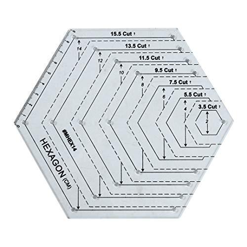 Weryffe Acryl Quilten Patchwork Vorlage Lineal Geometrische Form Patchwork Sammelalbum DIY Nähen Handwerk Multifunktions Handwerkzeuge (Sechskant)