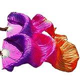 シルクファンベール 2本セット シルク100% ベリーダンス ファンベール シルクファンベール ベール シルク 衣装 扇子 団扇 舞台 小道具 アクセサリー 扇子 団扇 150 * 90 cm (紫ローズオレンジ色)