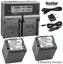 Kastar LCD Dual Fast Charger & 2 x Battery for Panasonic VW-VBG070, VW-VBG130, VWVBG260, VBG6 and SDR-H40, SDR-H80 Series,...