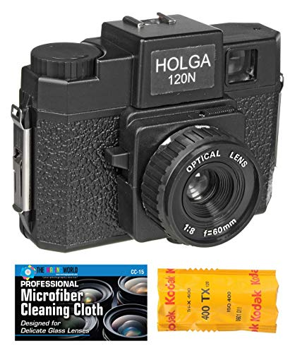 Holga 120N Medium Format Film Camera (Black) with Kodak TX 120 Film Bundle and Microfiber Cloth