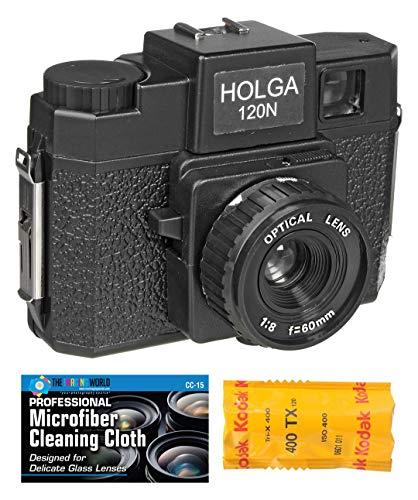 Holga 120N Filmkamera, mittelgroß, inkl. 120 Folien und Mikrofasertuch, Schwarz