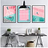 QYH Nordic Style Cute Poster Pink Baseball Field Baseball Bat Canvas Painting Wall Art Print for Living Room Home Decor Unframed 30x40 cm No Frame