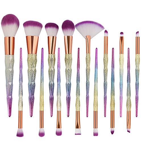 Ensemble de pinceaux de maquillage, cils diamantés de qualité supérieure pour sourcils, fond de teint ombres à paupières, mélange de pinceaux à maquillage (15pcs) Brosse à maquillage XXYHYQ