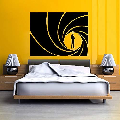 yiyiyaya Qualität Bond GOLDEN Gun Vinyl wandkunst Aufkleber Dekoration tapeten Kunst Gebogene Aufkleber für Schlafzimmer 57x43 cm