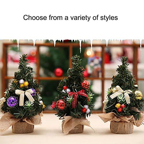 RB Künstlicher Mini-Weihnachtsbaum, 19,8 cm, mit Schleife und Kugel, für Zuhause und Büro, 3 Stück