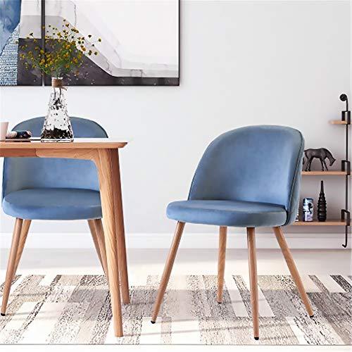 Blanketswarm Sillas modernas de comedor, silla tapizada para sala de estar, asiento suave y respaldo con patas de metal de madera, juego de 2