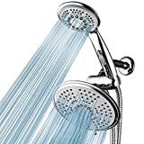 HotelSpa High-Pressure Ultra Luxury Rainfall Combo – Giant 7-inch 5-mode Head, 6-mode Hand Shower with ON/OFF Pause Switch, Water Diverter, Stainless Steel Hose – Top American Brand – Chrome Finish