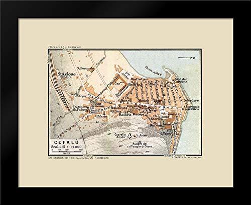 Baedeker 24x20 Black Modern Framed Art Print Titled Cefalu Sicily Italy - Baedeker 1880 Map