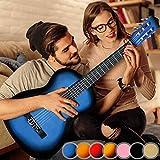 Guitarra Acústica Clásica - Tamaño Completo, Adecuada para Principiantes y Aficionados, 6 Cuerdas de Nailon, 18 Trastes, Azul - Instrumentos Musicales