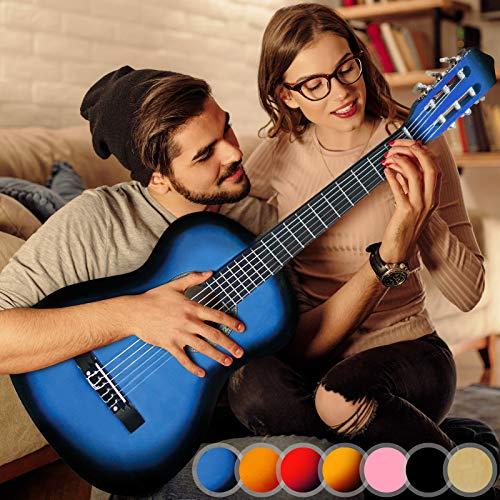 Akustikgitarre - 4/4, aus Holz, 40 Zoll, 6 Saiten, Blau - Konzertgitarre, Klassikgitarre, Gitarre, Westerngitarre für Einsteiger, Jugendliche und Erwachsene