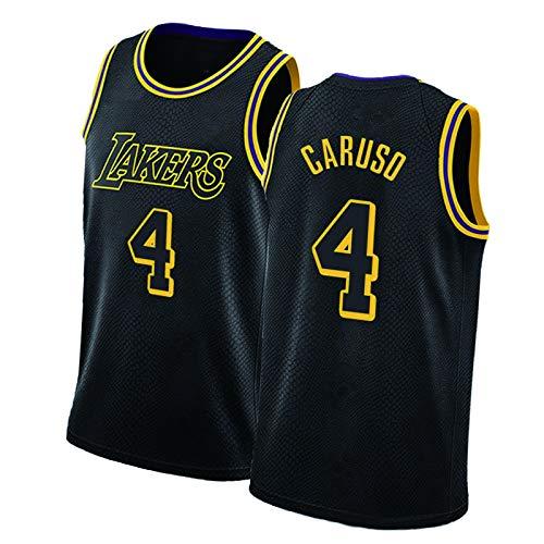 HRTE Lakers #0 Kuzma #3 Davis #4 Caruso Bryant Camisetas de baloncesto negro Mamba, malla transpirable ropa deportiva al aire libre equipo entrenamiento sin mangas chaleco negro ~ Caruso-XL