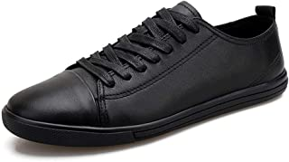 XUJW-Shoes, Fashion Sneaker for Men Sports Shoes Lace Up Style OX Leather Simple Pure Colors Lighteight Soft Durable Comfortable Walking Shopping Travel Driving (Color : Black, Size : 7.5 UK)
