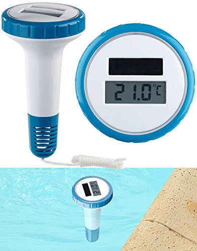 FreeTec Schwimmbadthermometer: Digitales Solar-Teich-& Poolthermometer, LCD-Anzeige, wasserdicht IPX7 (Teichthermometer)