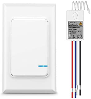 Wsdcam Wireless Light Switch and Receiver Kit, No Wiring Wall Switch Remote Control Ceiling Lights/Fans/Lamps/Bulbs, Outdo...