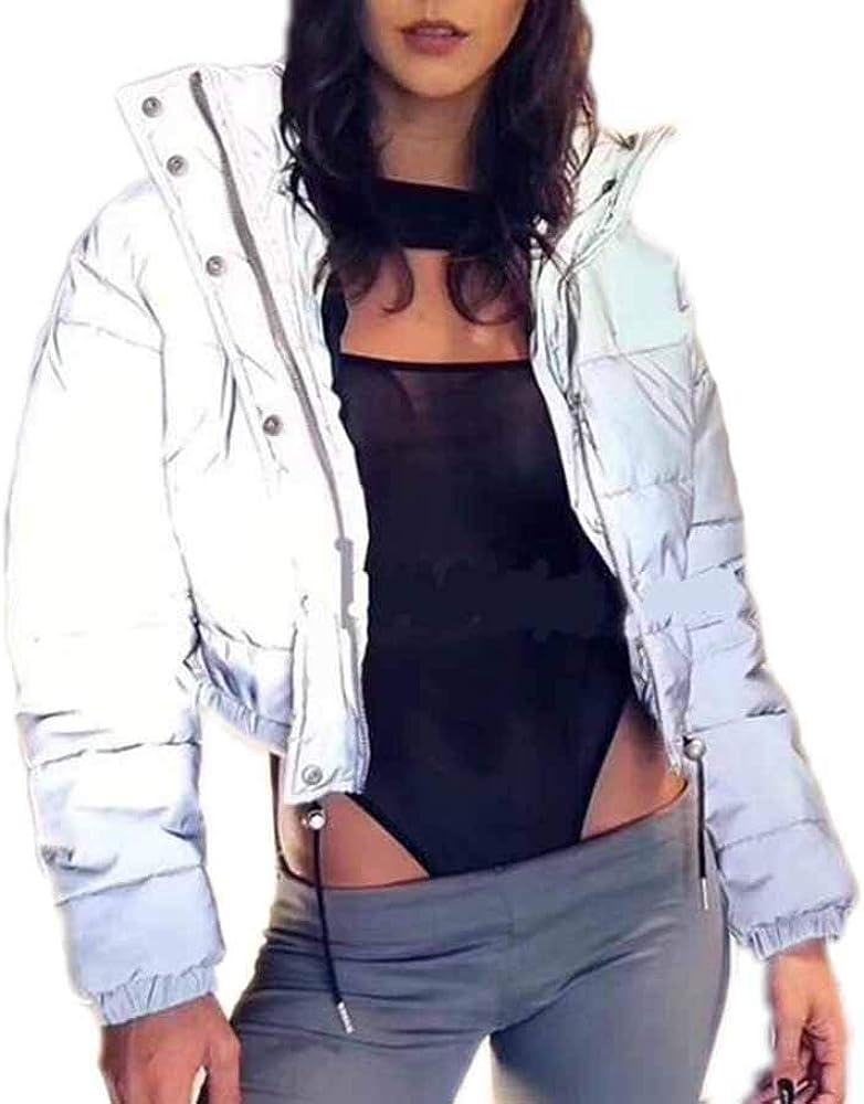 Abrigo de cordón Reflectante para Mujer Chaqueta Gruesa Cortavientos de Invierno Chaqueta de Bolsillo cálida