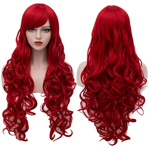 Extra Long Red Wigs 32 Inches Cosplay Party Wig Spiral Curly Synthetic Hair Wigs for Women BU144