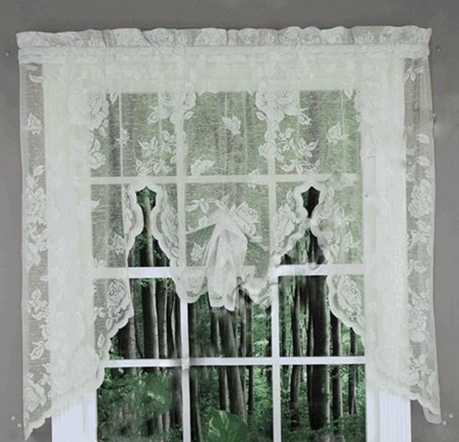 Abbey Rose Floral Lace Curtain (Ivory, Swag Valance)