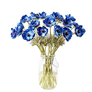 Calcifer 5 Pcs 51 cm PU Anemone Artificial Flowers Bridal Holding Flowers Bouquet Home Garden Wedding Party Wall Living Room Decoration (Blue)